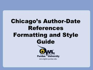 Chicago ' s Author-Date References Formatting and Style Guide