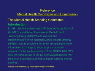 Reference Mental Health Committee and Commission