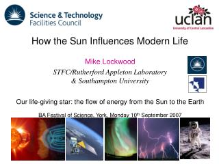 Mike Lockwood STFC/Rutherford Appleton Laboratory  & Southampton University
