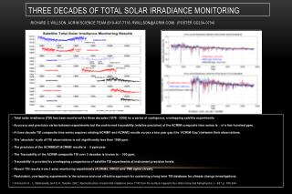 Total solar irradiance (TSI) of the Earth has been monitored for three decades