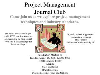Project Management Journal Club