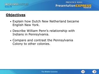 Explain how Dutch New Netherland became English New York. Describe William Penn s relationship with Indians in Pennsylva