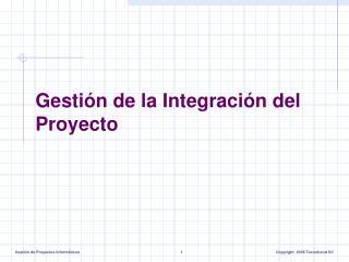 Gesti�n de la Integraci�n del Proyecto