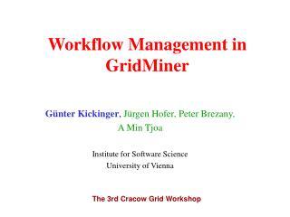 Workflow Management in GridMiner