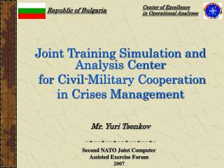 Joint Training Simulation and Analysis Center  for Civil-Military Cooperation
