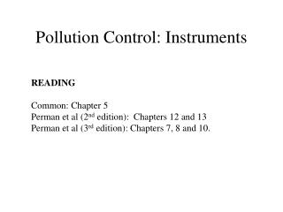Pollution Control: Instruments
