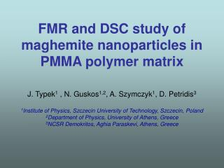 FMR and DSC study of maghemite nanoparticles in PMMA polymer matrix