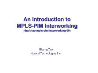 Bisong Tao Huawei Technologies Inc.