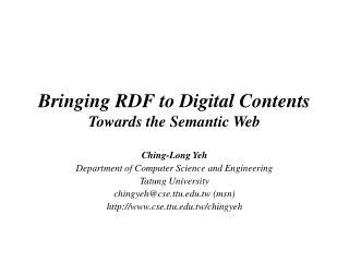 Bringing RDF to Digital Contents Towards the Semantic Web