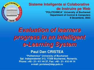 Evaluation of learners progress in an Intelligent e-Learning System
