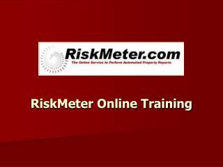 RiskMeter Online Training