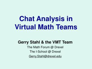Chat Analysis in  Virtual Math Teams