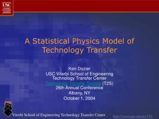 A Statistical Physics Model of Technology Transfer