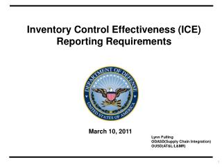 Inventory Control Effectiveness (ICE) Reporting Requirements