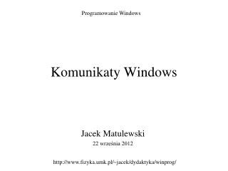 Komunikaty Windows