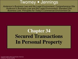 Chapter 34 Secured Transactions In Personal Property
