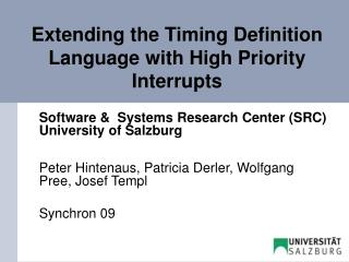 Extending the Timing Definition Language with High Priority Interrupts