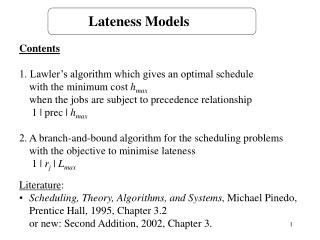 Lateness Models
