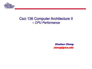 Csci 136 Computer Architecture II –  CPU Performance