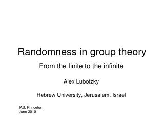 Randomness in group theory