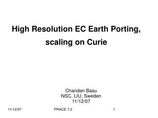 High Resolution EC Earth Porting, scaling on Curie