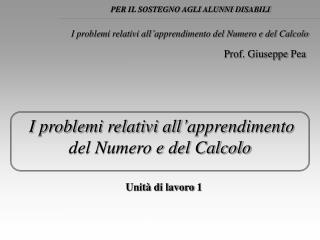 I problemi relativi all'apprendimento del Numero e del Calcolo