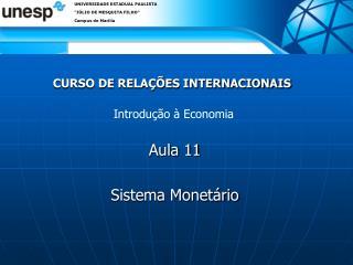CURSO DE RELA��ES INTERNACIONAIS
