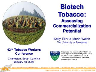 Biotech Tobacco: Assessing Commercialization Potential