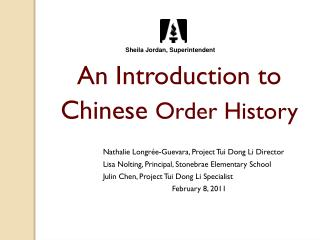 An Introduction to  Chinese  Order History
