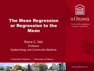 The Mean Regression  or Regression to the Mean