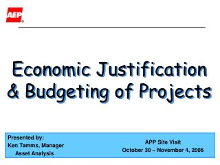 Economic Justification & Budgeting of Projects