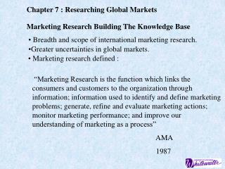 Chapter 7 : Researching Global Markets