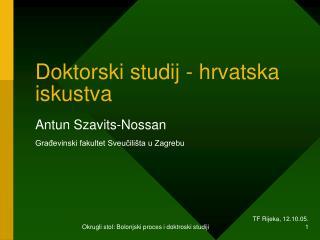 Doktorski studij - hrvatska iskustva