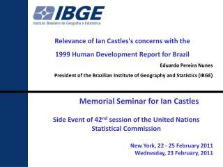 Memorial Seminar for Ian Castles