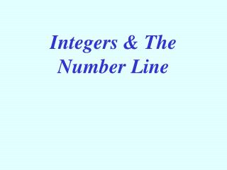 Integers  The Number Line