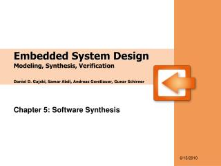 Chapter 5: Software Synthesis