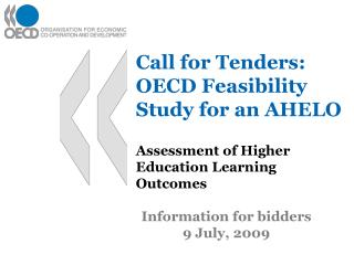 Call for Tenders: OECD Feasibility Study for an AHELO