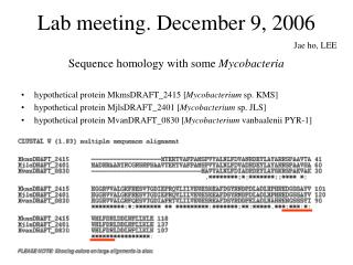 Lab meeting. December 9, 2006