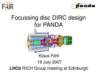 Focussing disc DIRC design for PANDA
