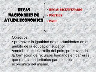 BECAS NACIONALES de AYUDA ECONOMICA