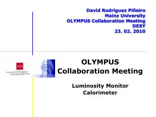 David Rodr�guez Pi�eiro Mainz University OLYMPUS Collaboration Meeting DESY 23. 02. 2010