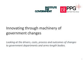 Innovating through machinery of government changes