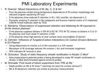 PMI Laboratory Experiments