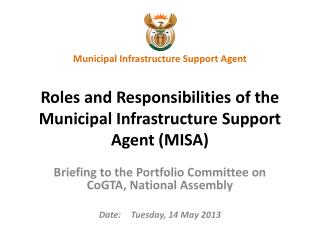 Briefing to the Portfolio Committee on  CoGTA , National Assembly Date:	Tuesday, 14 May 2013