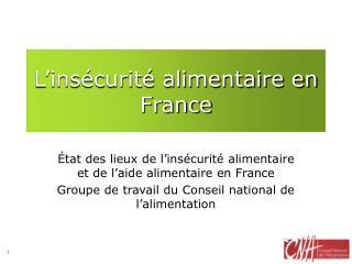 L�ins�curit� alimentaire en France