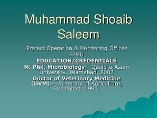 Muhammad Shoaib Saleem