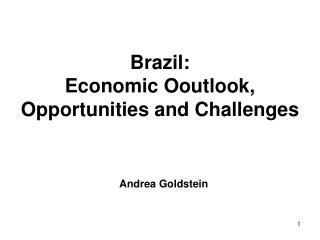 Brazil:  Economic Ooutlook, Opportunities and Challenges
