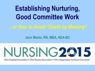 Establishing Nurturing, Good Committee Work