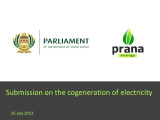 Submission on the cogeneration of electricity