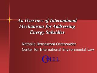 An Overview of International Mechanisms for Addressing  Energy Subsidies